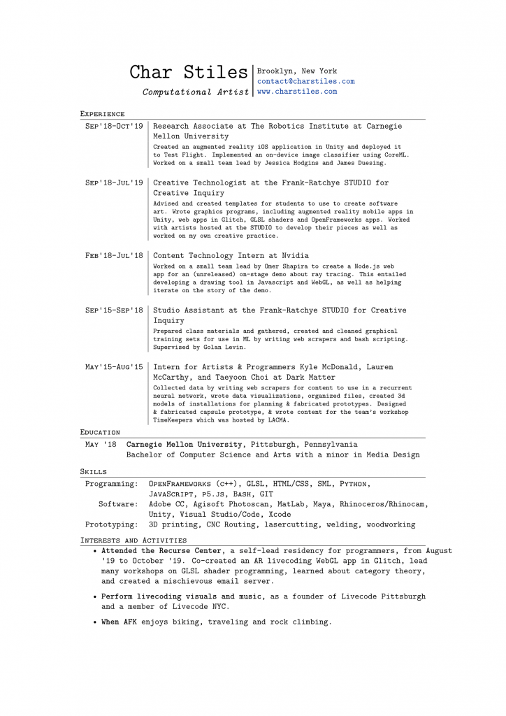Resume For Char Stiles, click to view PDF